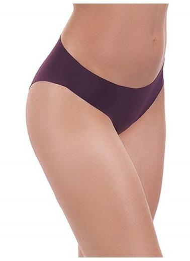 Cottonhill Kahverengi Klasik Basic Lazer Kesim Kadın Bikini Külot Mürdüm